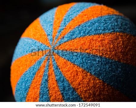 part of orange and blue sponge ball texture