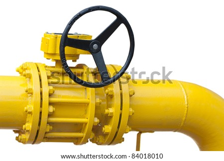 part of pipe with valve  isolated over white