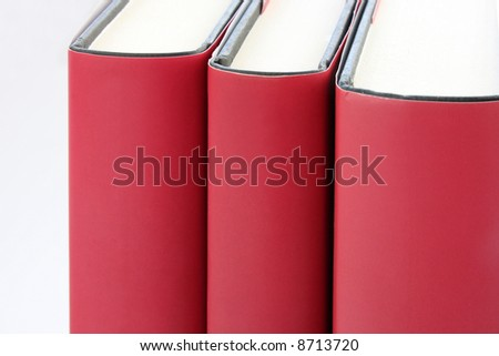 Part of 3 Red books isolated on white background