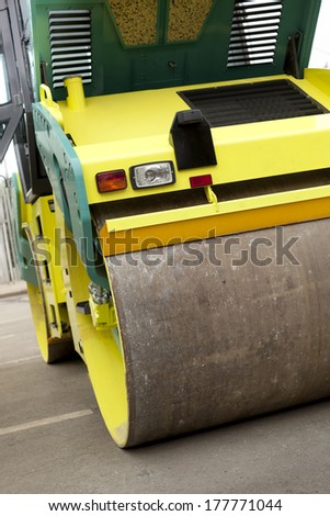 part of road roller , selective focus on nearest part