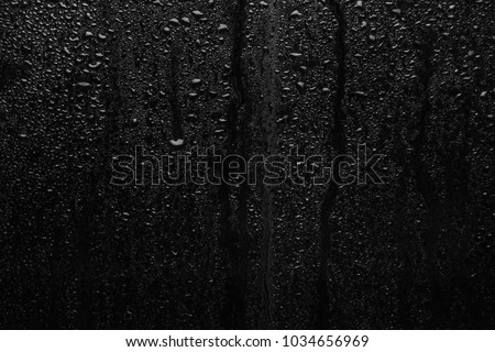 Part of series. Background photo of rain drops on dark glass, different size: small medium and large horizontal view