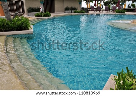 part of swimming pool with blue water