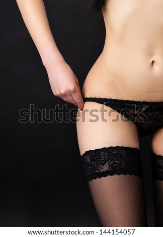 Part of the body in lingerie, panties - stock photo