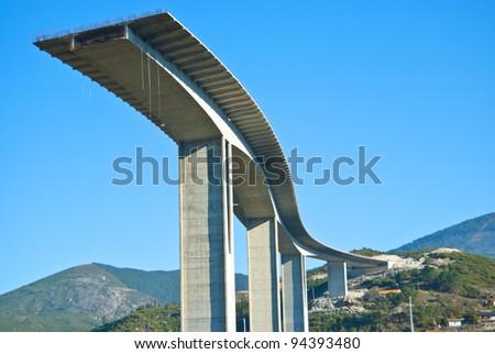 part of the bridge being built motorway