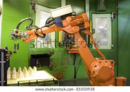 part of the cnc milling machine with robot