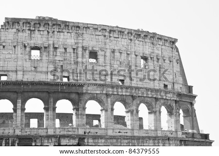 Part of the Colosseum in Rome in black and white