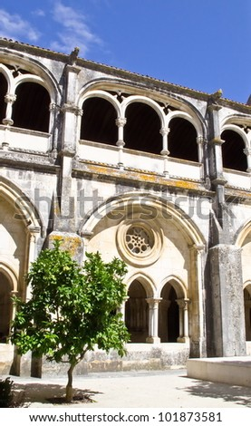 Part of the courtyard of the Monastery of Alcobaca inside