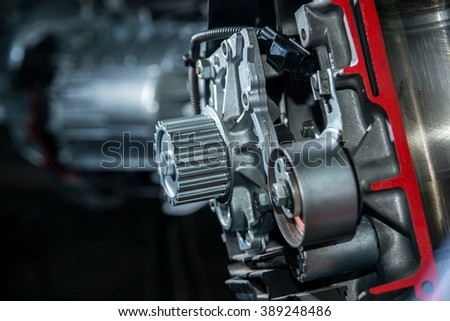 Part of the engine of a vehicle close-up stock photo