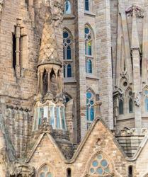 Part of the façade of La Sagrada Familia; a work of the famous architect Gaudi