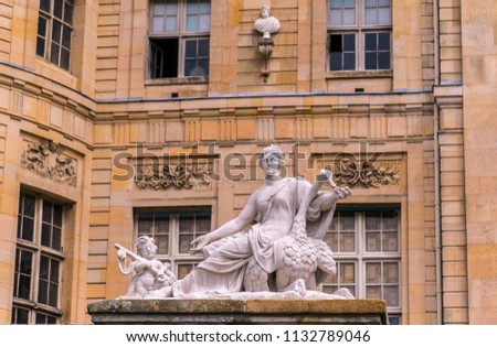 Part of the facade of Chateau Vaux-le-Vicomte Castle in Maincy, France. #1132789046