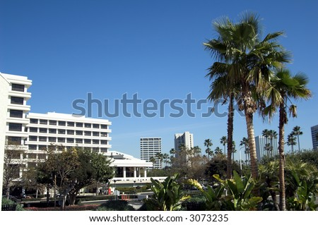 Part of the Fashion Island Skyline along California's Newport Coast
