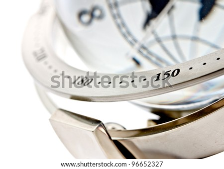 part of the metal ring of global model clock on white background