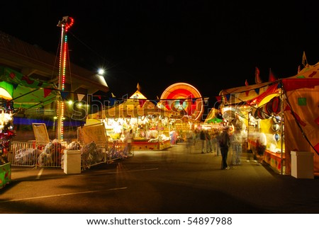part of the midway at the 2009 Douglas County Fair in Roseburg Oregon at night.