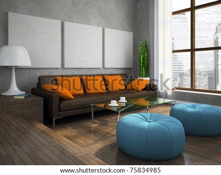 Part of the modern living-room with blue ottomans 3D rendering