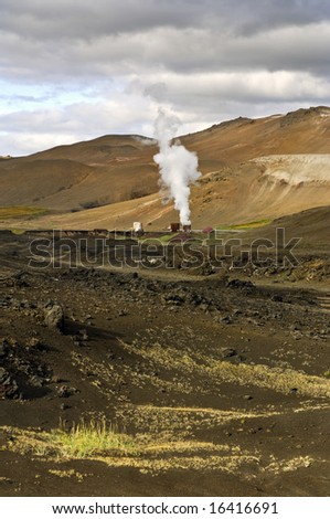 Part of the 60MW geothermal powerplant in the Volcanic Krafla system, generating electricity from the natural earth energy