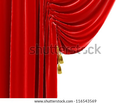 Part of the red curtains that open white background where can be text