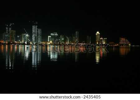 Part of the skyline of the New District of Doha, the capital of Qatar, at night, seen across Doha Bay from the Corniche.