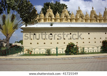 part of the temple complex in the gardens of the royal palace in mysore