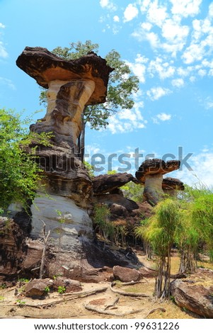 Part of the tourist attractions sao chaliang,Pha Taem National Park Ubon Ratchathani Thailand