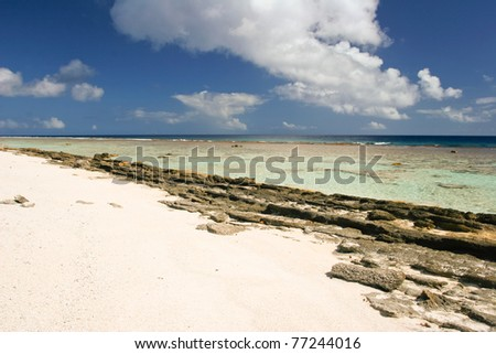 Part of the tropical beach on Maupiti, French Polynesia, Society Islands