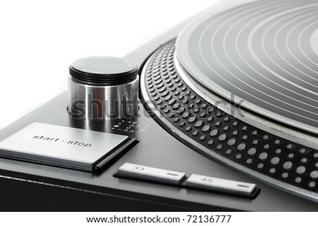 Part of the vinyl record player on white background