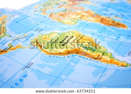 Part of the world map with South America and Africa.