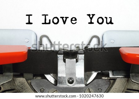 Part of typing machine with typed I Love You words #1020247630