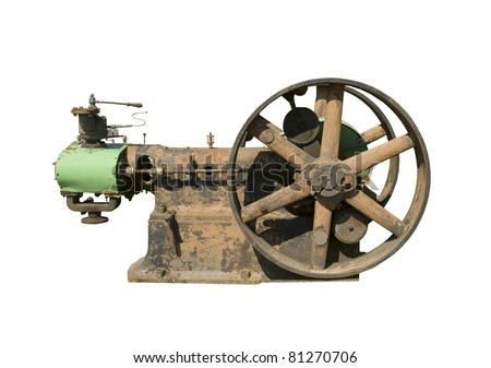 part of vintage stationary steam engine on a white background