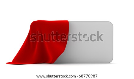 part of white rectangular boxing is covered by a red fabric