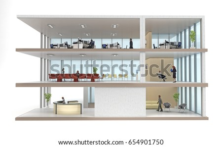 part office building cutaway isolated on white. 3d rendering Stock photo ©