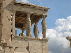 Parthenon, Acropolis, Athens, Greece. Former temple dedicated to the goddess Athena, built in 432 BC.
