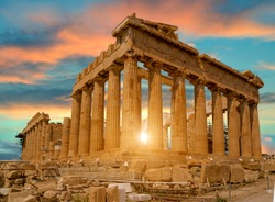 parthenon athens greece sunset colors for background