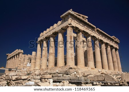 Parthenon in Greece and dark blue sky