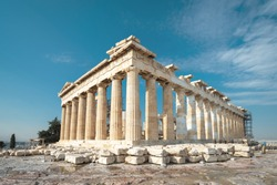 Parthenon on Acropolis, Athens, Greece. It is a main tourist attraction of Athens. Ancient Greek architecture of Athens in summer. Ruins of a famous landmark of Athens on the top of Acropolis hill.