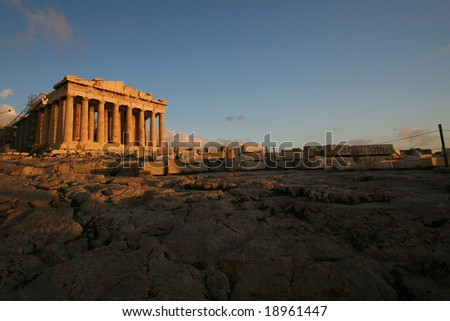 Parthenon on the Acropolis at sunset