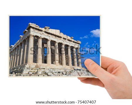 Parthenon photography in hand (my photo) isolated on white background