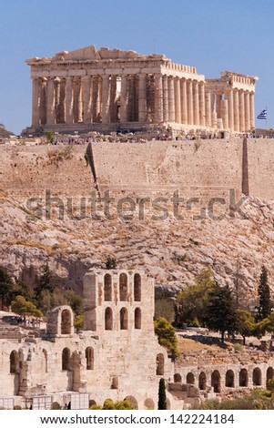 Parthenon temple and Odeon of Herodes Atticus in the Acropolis of Athens, Greece.