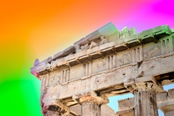 Parthenon Temple at Acropolis Hill Athens Greece - A Beautiful Colorful Photo of Ancient Landmark and Iconic Building Dedicated to Greek Goddess Athena