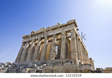 Parthenon temple at the Acropolis of Athens in Greece (temple of Goddess Athena)