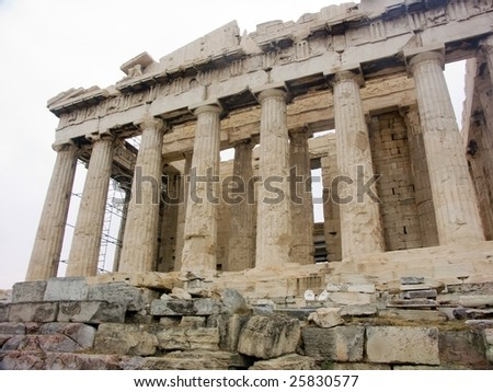 Parthenon temple on Acropolis, Athens, Greece on white background