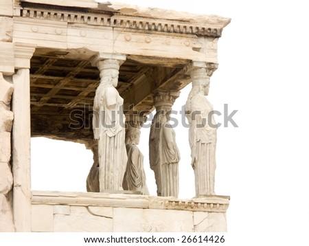 Parthenon temple on Acropolis, Athens, Greece on white background