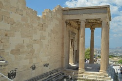 Parthenon temple on the Acropolis of Athens, Greece and column details.