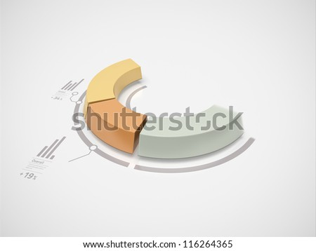 Partial 3d donut chart in motion with numbers and symbols for business statistics and reports.