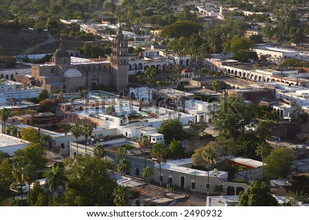 partial eagle view of the town of Alamos in the northern state of Sonora, Mexico, Latin America