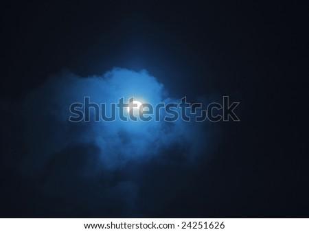 Partial eclipse of the sun shot through blue filter. The photo taken 26.01.09 near Bali, Indonesia