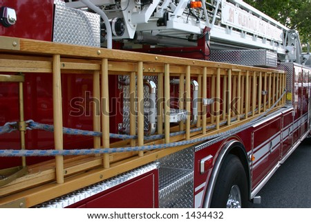 Partial profile of a fire truck