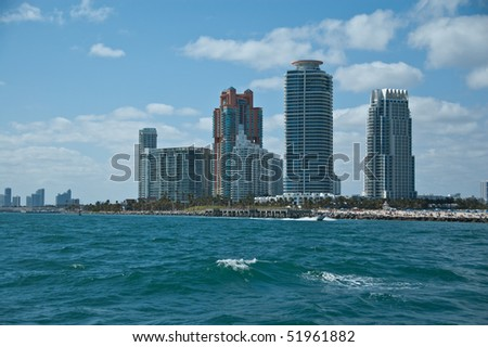 partial skyline in fort lauderdale florida as seen from the intracoastal waterway