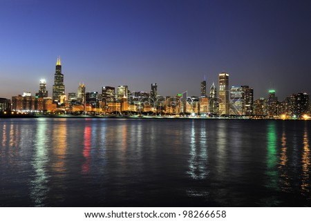 Partial view of downtown Chicago skyline at dusk