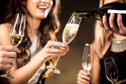 Partial view of happy young friends drinking champagne