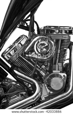 Partial view of motorcycle on white background